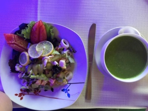 Seafood salad and spinach soup.