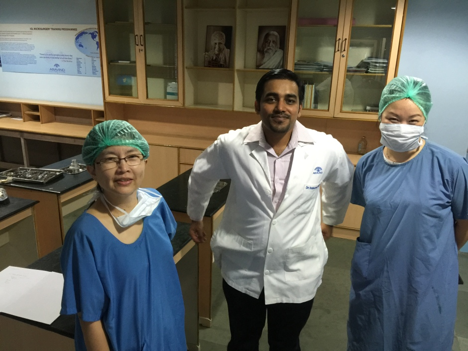 Anna and Dr. Jap with their local instructor in the hospital's wet lab, where they practise on they eyes from cadavers, as opposed to pig's eyes. Unfortunately, I took this photo as the instructor was putting his hands behind his back, giving him the appearance of 'The Rocketeer'.