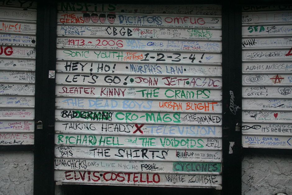The front of CBGB the day after the final show and closure