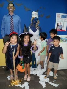 Halloween at GEOS Language Centre. Yes, my boss painted herself blue.
