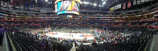 Panoramic shot inside the Staples Center