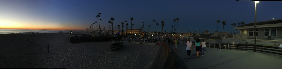 Panoramic shot of the beach at night