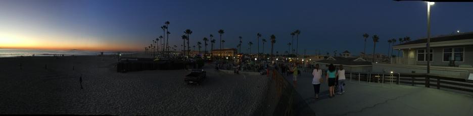 Panoramic shot of the beach at night