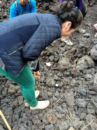 Anna toasting marshmallows in the ground
