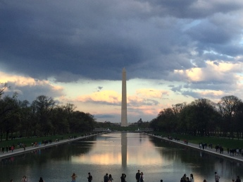 Looking at the Washington Monument from the Lincoln Memorial