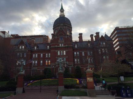 The main entrance of Johns Hopkins