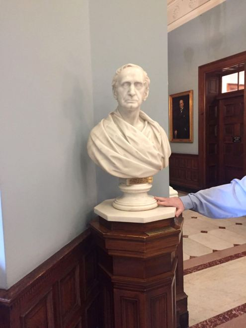 A bust of Johns Hopkins