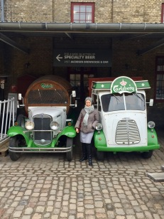 Anna and some old Carlsberg delivery trucks
