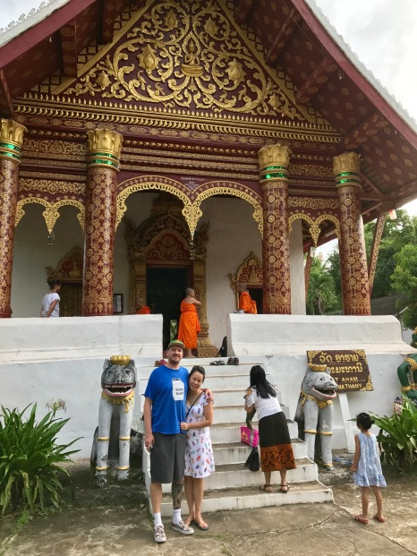 In front of a wat with Anna