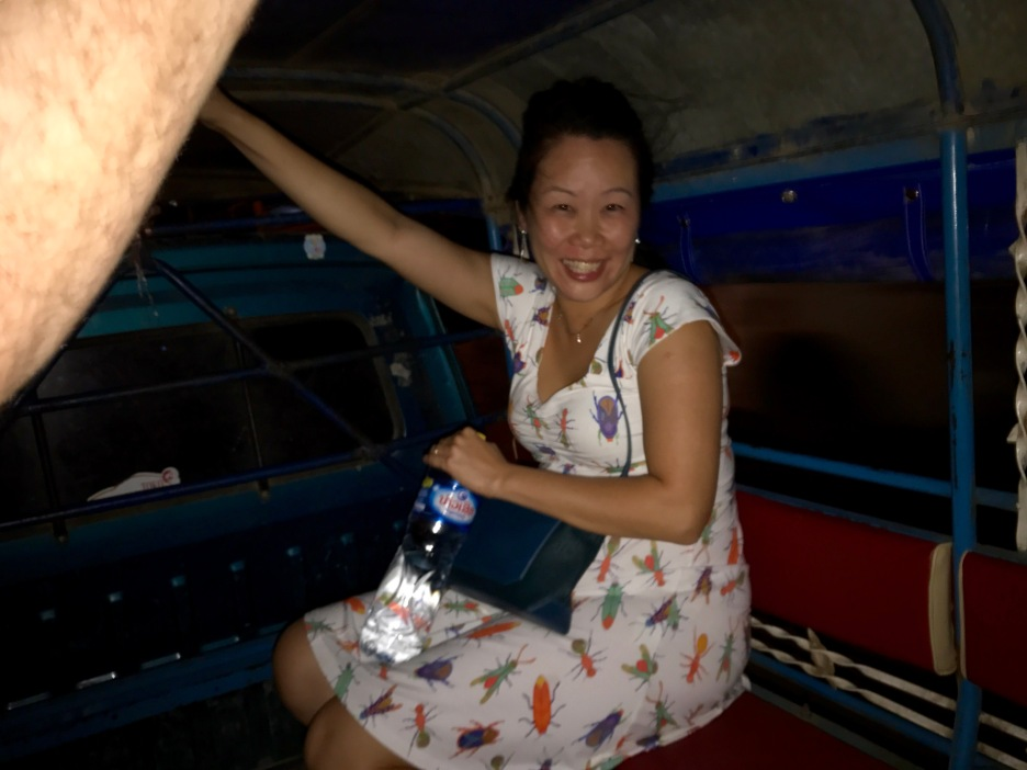 What looks like a tiny Anna holding my arm in the back of the tuk-tuk on our way home