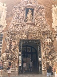 A closeup of the entrance