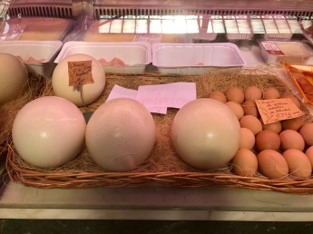 I think the ostrich eggs are the ones on the left