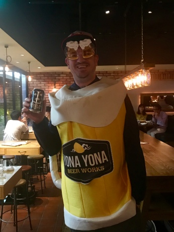 The staff got me to dress up as a beer